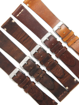 Distressed Brown Spanish Leather Watch Straps 20mm