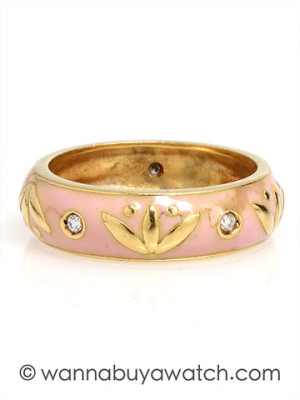 18K Yellow Gold with Pink Enamel