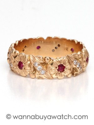 18K Pink Gold Diamonds & Ruby Band