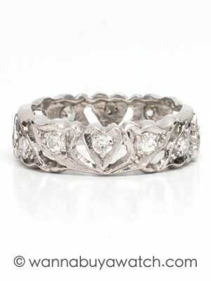 Vintage Platinum Diamond Eternity Band 0.60ct Old European Cuts circa 1940s