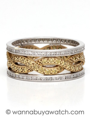 Platinum & 18K Yellow Gold Diamond Band