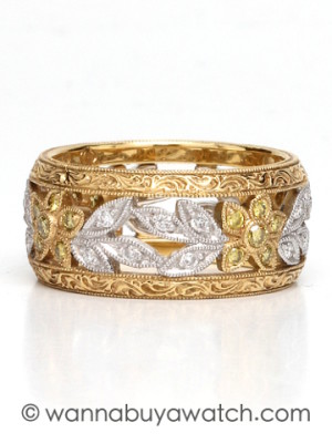 Wide Platinum & Yellow Gold Vintage Style Diamond Eternity Band circa 2000s