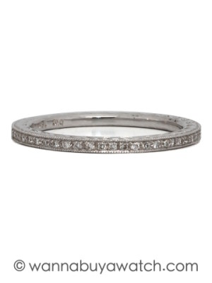 Narrow 18K White Gold Engraved Diamond Eternity Band 0.14ct circa 2000s