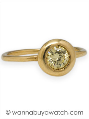 14K YG with 0.51ct Light Fancy Yellow Diamond Ring