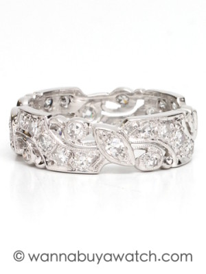 Mid Century Platinum & Diamond Wide Eternity Band circa 1940s-1950s