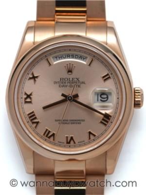 Rolex 18K PG Oyster President circa 2000