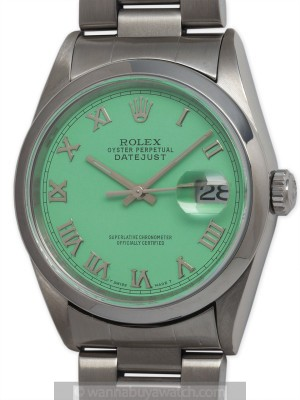"Rolex SS Datejust circa 2000 ""Mint Green"""