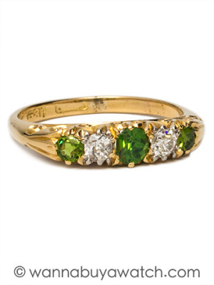 18K Victorian Demantoid Garnet & Diamonds