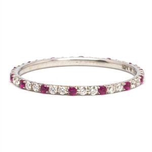 Platinum 1mm Wide Diamond & Ruby Eternity Band