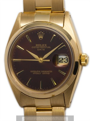 "Rolex 18K YG Oyster Perpetual Date circa 1978 ""Rootbeer"""
