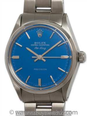 "Rolex SS Oyster Perpetual Airking circa 1971 ""Royal Blue"""