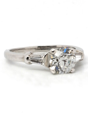 Vintage Engagement Ring Platinum 1.05ct OEC H-VS1 circa 1930s