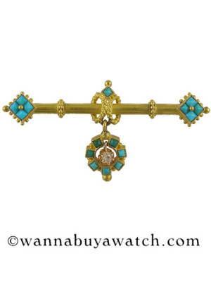 Etruscan Bar Pin Turquoise & Diamond