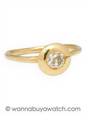 14k Yellow Gold Mine Cut Diamond Ring by Liza S