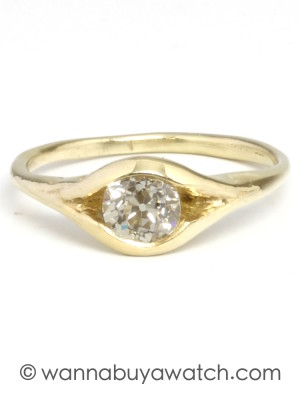 14K Green Gold & Yellow Diamond Ring