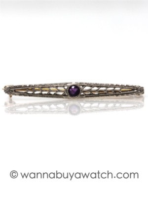 14K WG/YG with Amethyst Pin