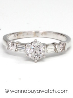 Solitaire Diamond Ring 14K WG 0.50ct RBC