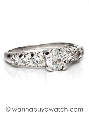 1940's Platinum & 0.72ct Old European Cut Diamond Solitaire