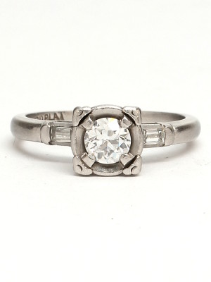 Vintage Platinum Engagement Ring 0.40ct Old European Cut G-VS2 circa 1940s