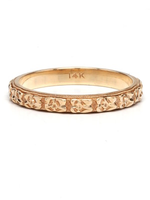 Vintage 14K Yellow Gold Floral 3mm Band circa 1940's