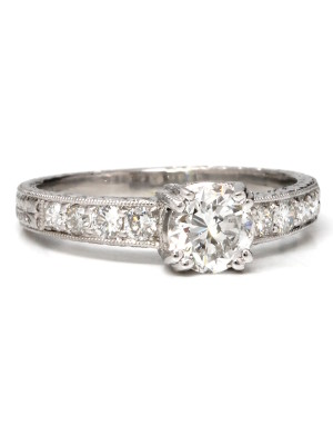 """New Vintage"" Platinum & 0.68ct F SI-2 Diamond Solitaire"