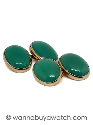 14K Gold & Emerald Green Cufflinks