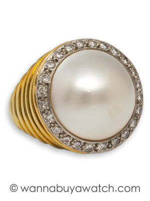 1960's 18KY Mabe Pearl & Diamonds
