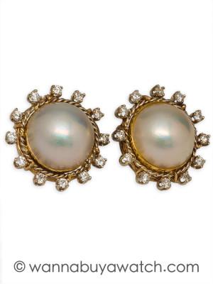 14K YG Mabe Pearl & Diamonds 44317aw