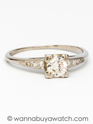 1940's Platinum 0.45ct Diamond Solitaire