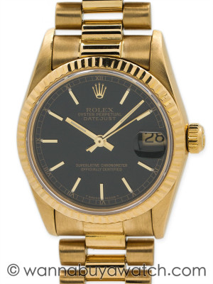 "Rolex 18K YG Midsize Datejust with ""President"" Bracelet circa 1985 Box & Papers"