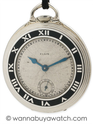 Elgin Pocket Watch Art Deco Enamel circa 1929