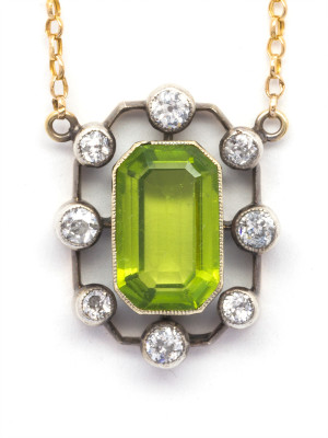 Antique Peridot & Diamond Pendant