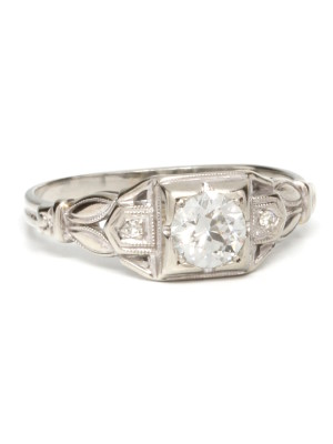 1930's 18K WG & OEC 0.50ct Diamond Solitaire