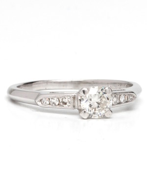Vintage Platinum Engagement Ring 0.51ct OEC Diamond F-SI1 circa 1930s