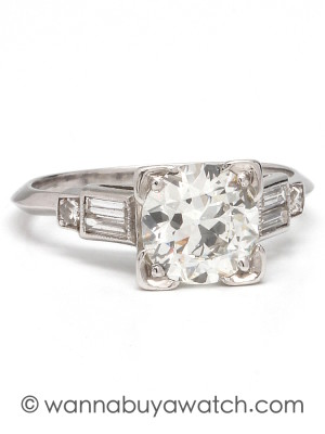 Vintage Engagement Ring Platinum 1.29ct OEC H-VS1 circa 1930s