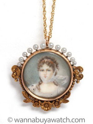 Antique 14K Gold Miniature Portrait Necklace