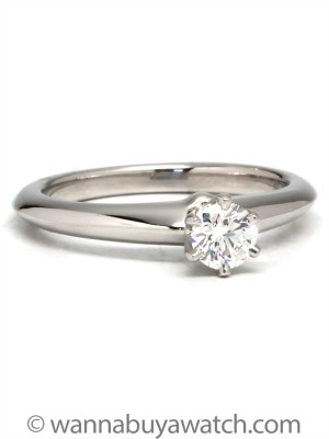 Classic Tiffany & Co. Platinum Solitaire Engagement Ring .25ct Round Brilliant G/VS1