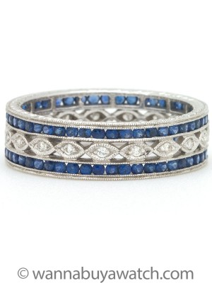 18K White Gold Diamonds & Sapphires