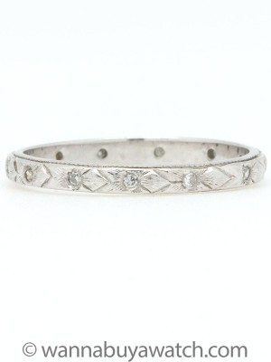 Antique Platinum Band with Diamonds