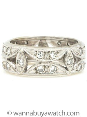 14K White Gold 7mm Diamond Band