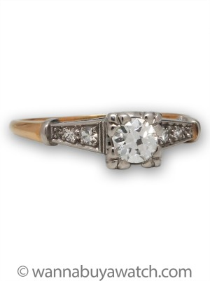 18k Yellow Gold & Platinum O.40ct Diamond Solitaire
