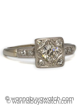 1950's 14k WG 0.40ct OEC Diamond Ring