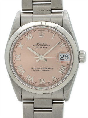 Rolex SS Midsize Datejust Rose Dial circa 2003