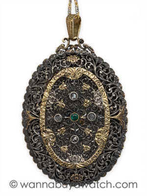 Silver & 18K Gold Pierced Pendant Locket circa 1910
