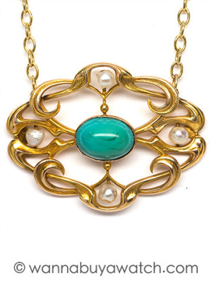 14K YG Art Nouveau Necklace with Turquoise