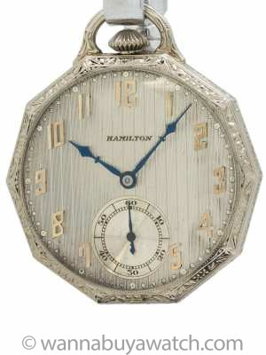 Hamilton Dress Pocket Watch 14K White Gold circa 1929