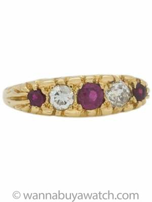 Victorian Era 18K YG Ruby & Diamond Band circa 1900