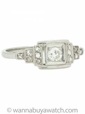 Vintage Art Deco Diamond Engagement Ring 18K WG .15ct Old European Cut H/I1, circa 1930's