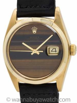 Rolex 18K YG Datejust ref 1601 Tiger's Eye circa 1974
