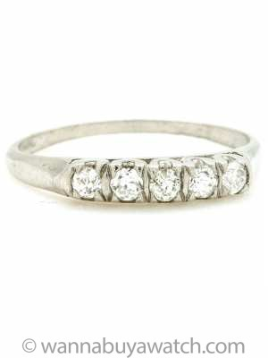 1940s Platinum and Old European Cut Diamond Band